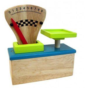 Türkis/Petrolfarbene Kaufladen-Waage aus Holz mit beweglichem Gewichts-Zeiger + Skala von 0-9 / Altersempfehlung: ab 4 Jahre - 1