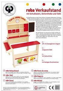 Roba 92802 - Verkaufsstand mit Verkaufsregal, Frontablage und Tafel, 3 Holzschubladen, Schichtholz natur und MDF, farbig lackiert, H: 113 cm, B: 103 cm T: 75 cm,1 Schiebetüre, seitliche Theke und Uhr - 3