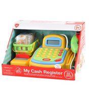 Playgo 3215 - Kasse mit handbetriebenem Transportband, elektronischem Rechner, Kreditkartenabrechnung und abschließbarer Schublade mit Geld, inklusive Einkaufskorb mit Zubehör - 1