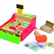Eichhorn 100003717 - Holz-Kasse, 64-teilig - mit Kartenlesegerät und Scanner - 16,5x26x16cm - inklusive Spielgeld, Karte und Papierrolle