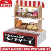 Hölzerne Kaufladen mit Schreibtafel / Kaufmannsladen Zubehör 26-teiliges Set in praktischer Aufbewahrungsbox